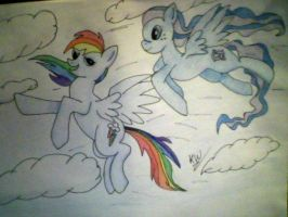 Rainbow Dash and Sea Dasher flying -Commission by KayceeMuffins
