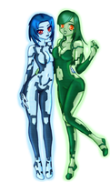 Cortana and Kalmiya by LunaARTemis-S237