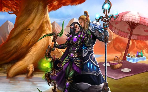 ...Commission: Blood Elf Romantic Picnic... by ShadowPriest