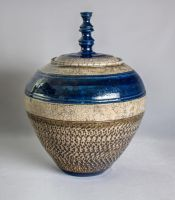 Crackled Blue and White Striped Jar by KaiCeramics