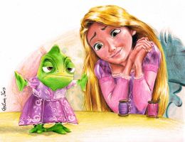 Rapunzel And Pascal by guyx23