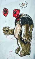 Deadpool with a Balloon by xashe