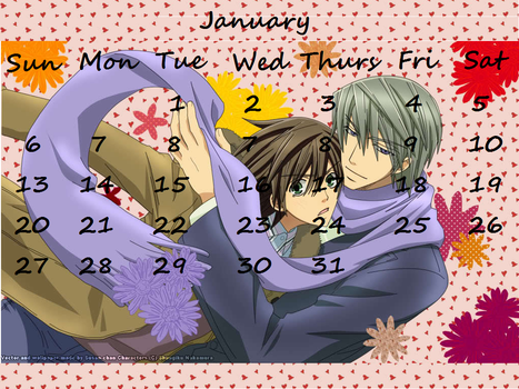 Junjou Romantica Calender 2013 January by len-takahashi