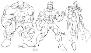 ANGEL CORPS line up inked WIP by gammaknight