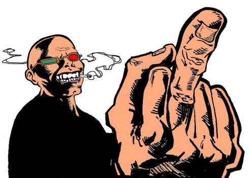 Spider Jerusalem Shows His Middle Finger (Colored) by WannaSeeMyArt
