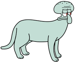 Squidward as a cat by dev-catscratch