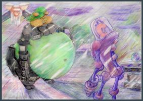 Space piggy __ backing away from a alien in a midd by SSsilver-c