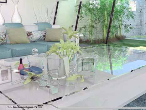 Simple White Living Room_3 by robihartono