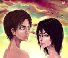 Shingeki no Kyojin: Eren and Mikasa by waywardgal