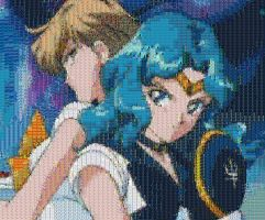 Sailor Uranus Neptune Mosaic by smallrinilady