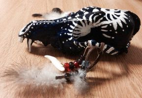 Blue and White Painted Coyote Skull by MagicallyCapricious