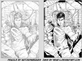 Superman Inking by Rene-L