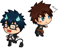 Rin and Yukio: Glasses by Irelys