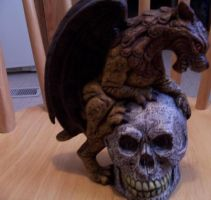 Gargoyle with Skull by MadForHatters