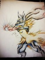 ~Mega Lucario using Aura Sphere~ by KyuubiDragonMasterAC