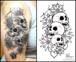 Skull and Daisy Tatoo by helloheath