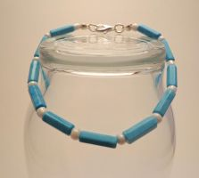 Turquoise and White Bracelet 21 by TheSortedBead