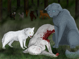 Snowfur's death (OLD) by Speck--Of--Dust