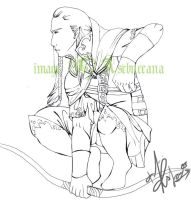 WIP- Avalonian Archer lineart by Asenceana