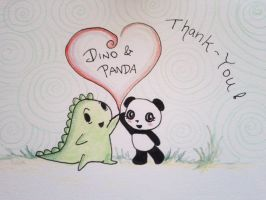 Dino and Panda Thank You 003 by MelodicInterval