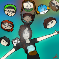 Me + Youtubers + friends by Frozen-x-Rain
