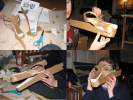 cardboard dragon mask WIP by WingedLioness