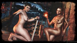 Dragon age Sexy - Cassandra and Vivienne wallpaper by ethaclane