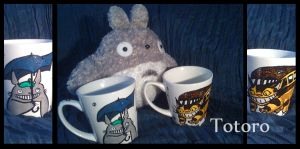 Totoro and Catbus Cups by Taneja