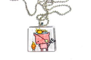 Hand Drawn Devil and Flame Pendant by PinkChocolate14