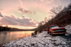 Bench, Truck, and the Mons by Bawwomick