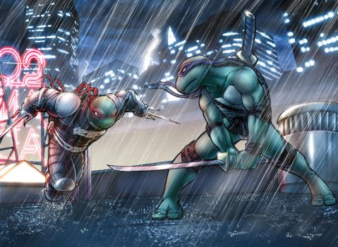 TMNT: Leo and Raph by AdamWithers