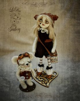 Alice in Wonderland and Dormouse. Steampunk style by LeRuGallery
