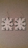 Snowflake Cross Stitch Earrings by moonprincessluna