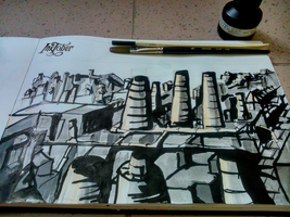 Industrial Town Rough Sketch - Inktober by Diego-Araujo-Artwork