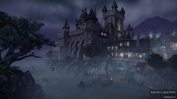 Night Castle Environment - CryEngine - Shot 01 by Zhibade