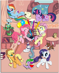 Crazy Ponies in the Library:  Shadowbox Mock-up by The-Paper-Pony