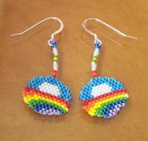 Seed bead Obama LGBT rainbow logo silver earrings by AxmxZ