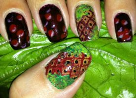 Christmas glazed ham and cranberry sauce nail art by amanda04