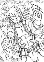 Deadpool Sketch Card BW by IsaiahBroussard