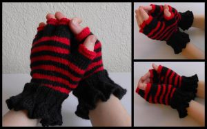 Red and Black Striped Gloves by StrangeKnits