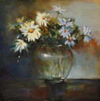 Daises With Glass Vase by artistwilder