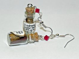 Up to no good! Bottle Earrings, Hand Sculpted by Secretvixen