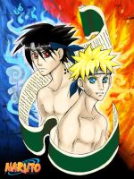 Naruto and Sasuke by LittleMissSarah