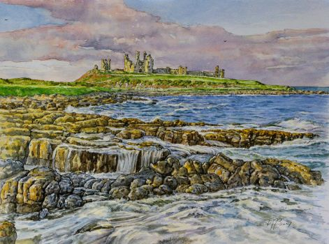 Ruins of Dunstanburgh castle, Northumberland. by jeffsmith1955