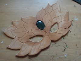 Green Man leather mask - WIP by Masktastic