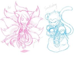 Ahri and Sun Wukong Sketch by monkeyfacepunch