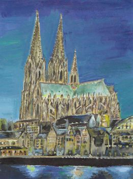 Cologne at Night- Oil Painting by CactusBuddy