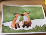 Two foxes in watercolor by Enjoydotcom