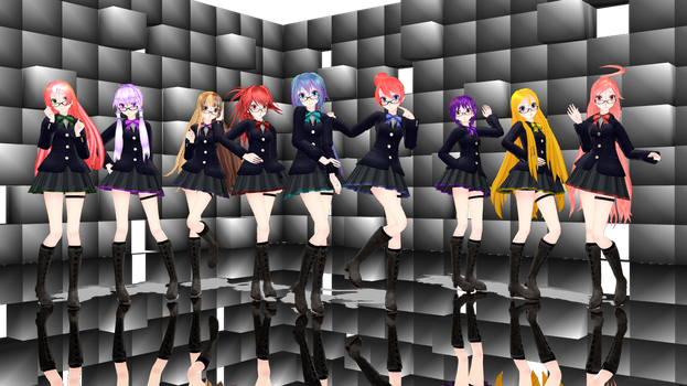 [MMD] TDA School girls (x9 models Pack) DL by Reineru-kun