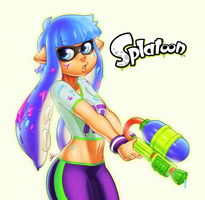 Digi Painting - Splatoon chick by Indivicolours